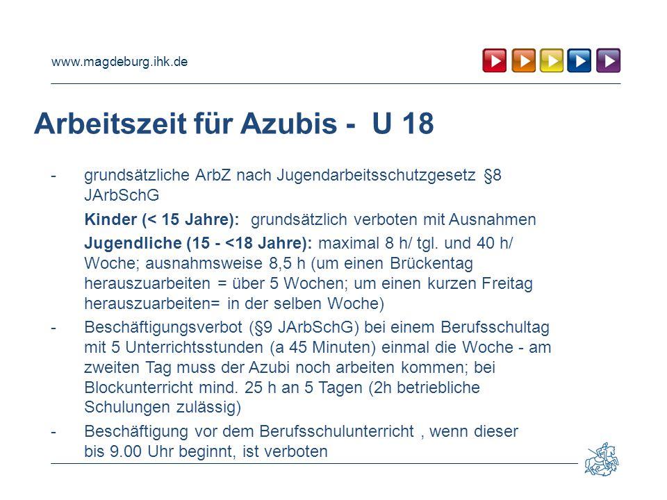 Arbeitszeit für Azubis - U 18