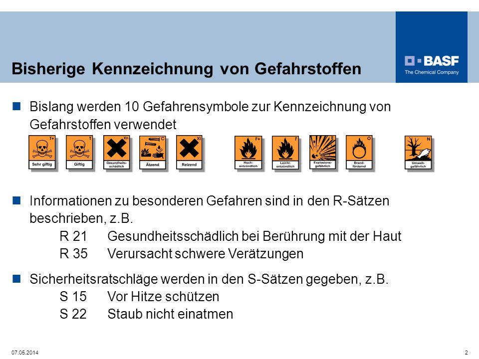 Bisherige Kennzeichnung von Gefahrstoffen