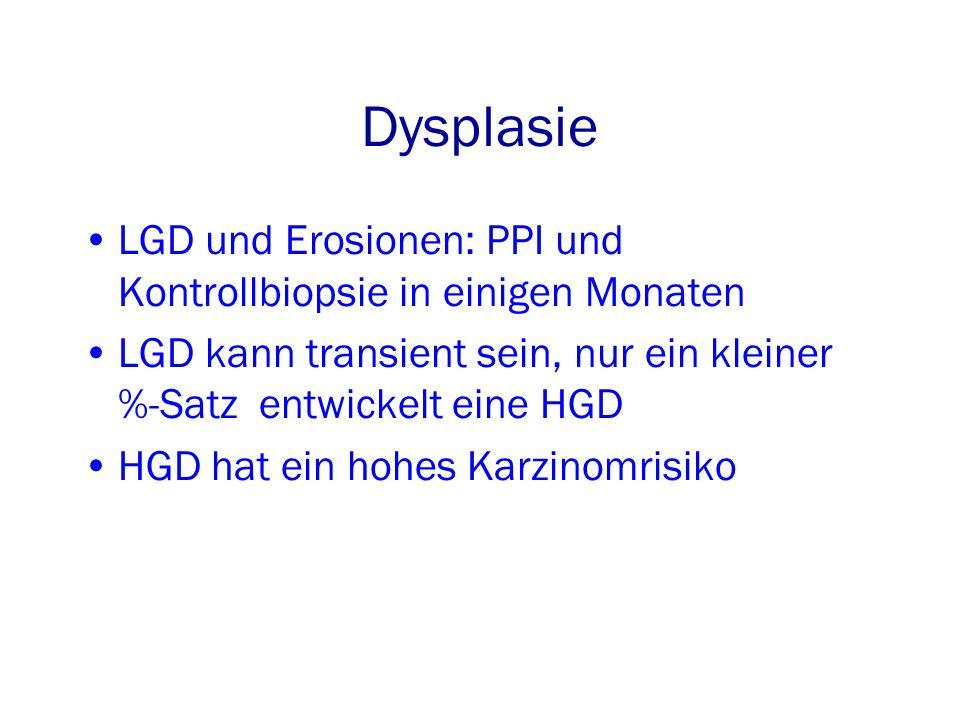 Dysplasie LGD und Erosionen: PPI und Kontrollbiopsie in einigen Monaten. LGD kann transient sein, nur ein kleiner %-Satz entwickelt eine HGD.