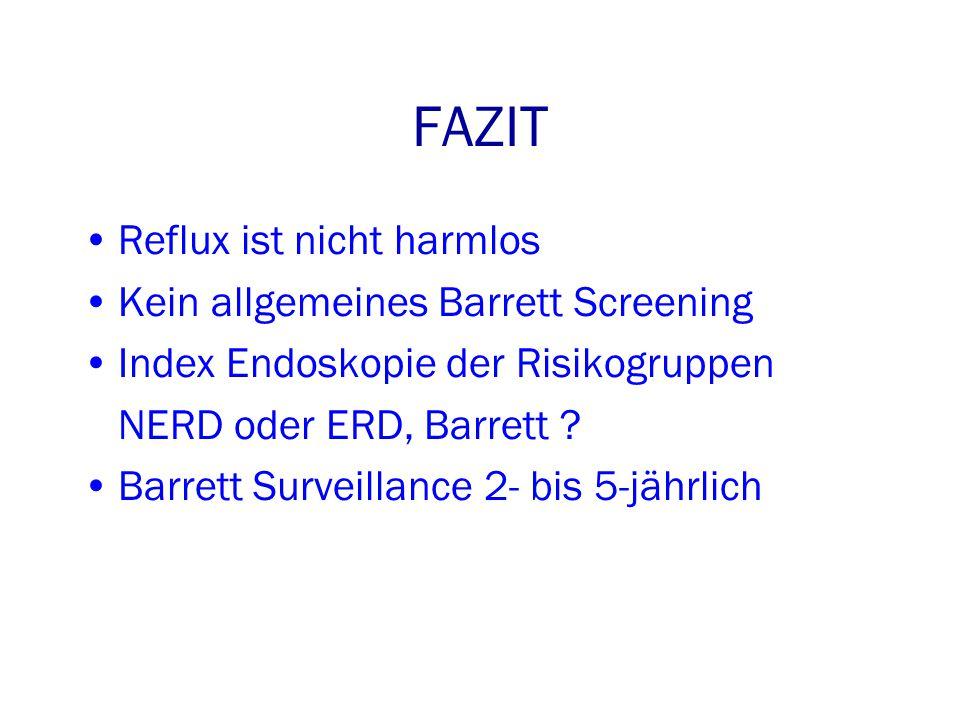 FAZIT Reflux ist nicht harmlos Kein allgemeines Barrett Screening