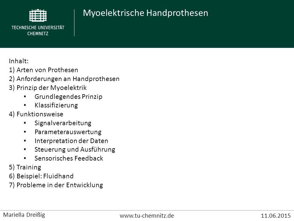 Inhalt: 1) Arten von Prothesen. 2) Anforderungen an Handprothesen. 3) Prinzip der Myoelektrik. Grundlegendes Prinzip.