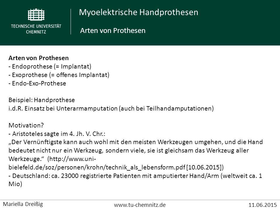 Arten von Prothesen Arten von Prothesen Endoprothese (= Implantat)