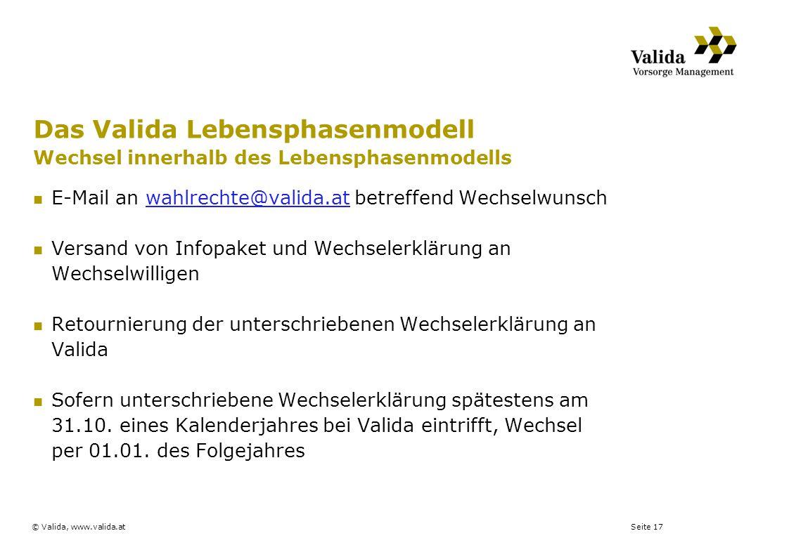 Das Valida Lebensphasenmodell Wechsel innerhalb des Lebensphasenmodells