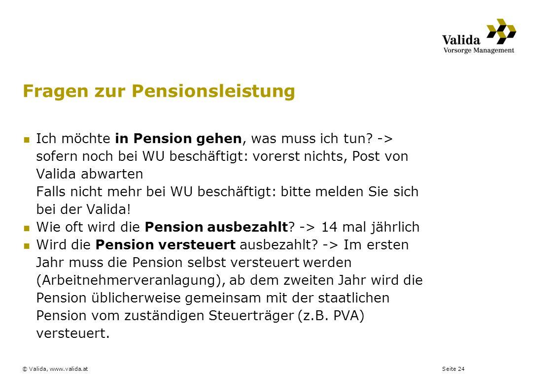 Fragen zur Pensionsleistung