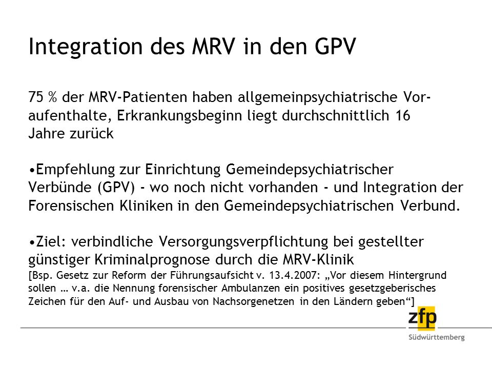 Integration des MRV in den GPV