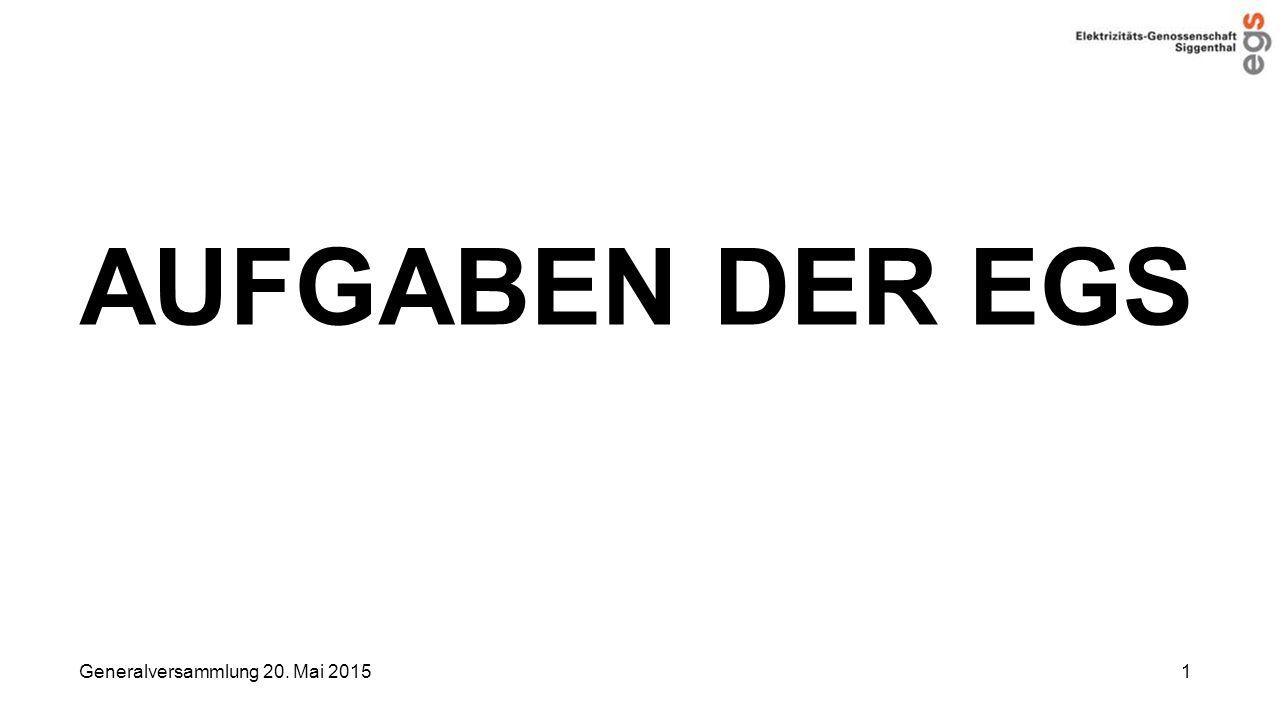 AUFGABEN DER EGS Generalversammlung 20. Mai 2015