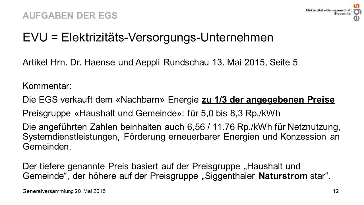 EVU = Elektrizitäts-Versorgungs-Unternehmen