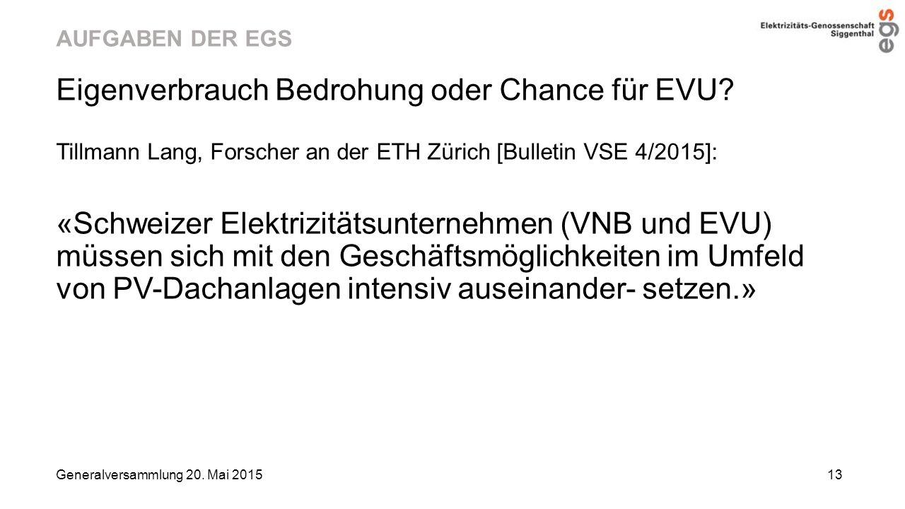 Eigenverbrauch Bedrohung oder Chance für EVU