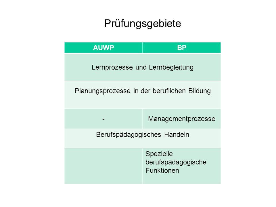Prüfungsgebiete AUWP BP Lernprozesse und Lernbegleitung