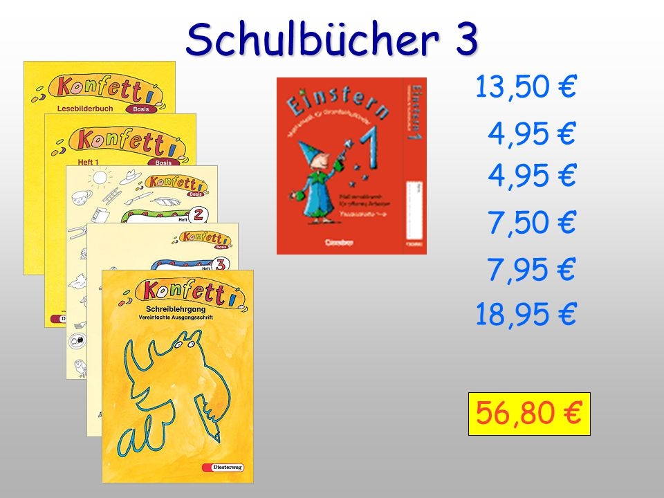 Schulbücher 3 13,50 € 4,95 € 4,95 € 7,50 € 7,95 € 18,95 € 56,80 €