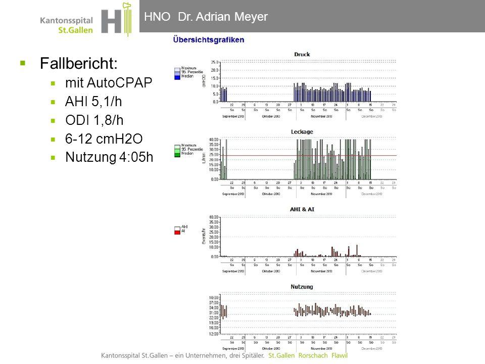 Fallbericht: mit AutoCPAP AHI 5,1/h ODI 1,8/h 6-12 cmH2O Nutzung 4:05h