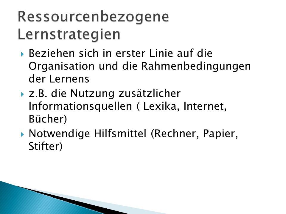 Ressourcenbezogene Lernstrategien