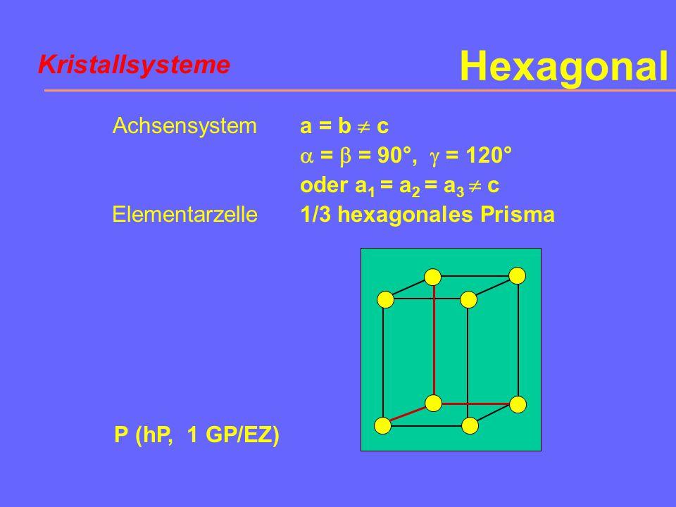 Hexagonal Kristallsysteme Achsensystem Elementarzelle a = b  c