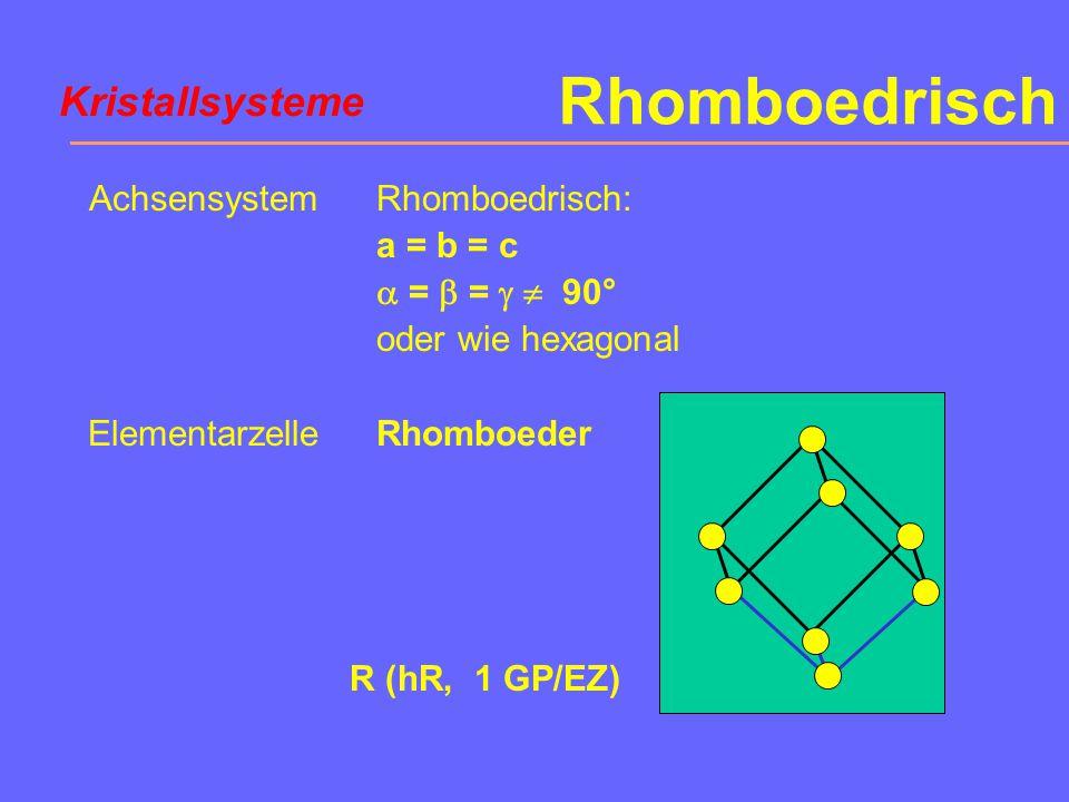 Rhomboedrisch Kristallsysteme Achsensystem Elementarzelle