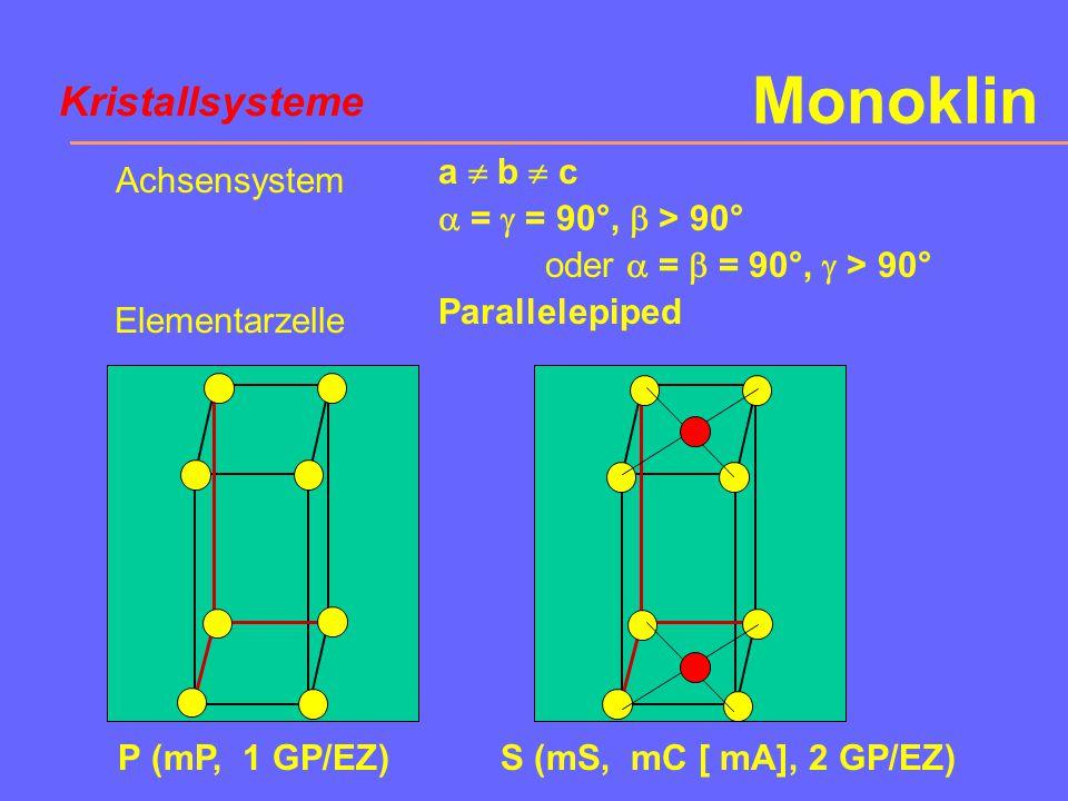 Monoklin Kristallsysteme a  b  c  =  = 90°,  > 90°