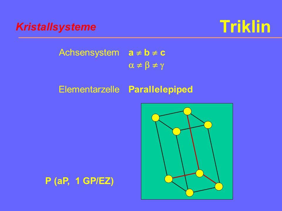 Triklin Kristallsysteme Achsensystem Elementarzelle a  b  c