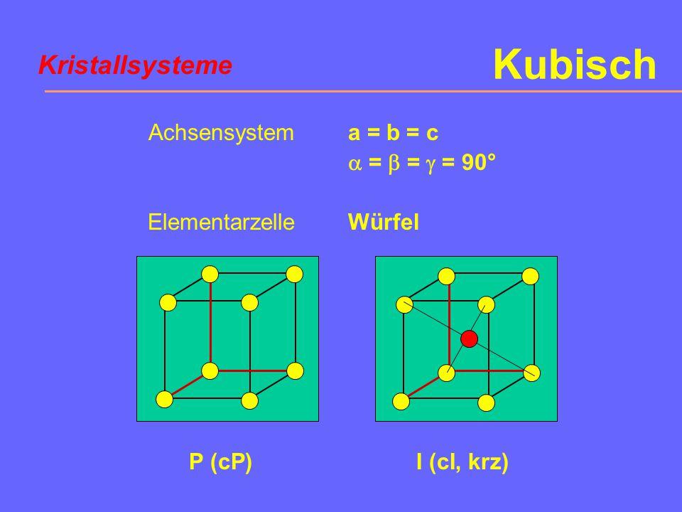 Kubisch Kristallsysteme Achsensystem Elementarzelle a = b = c