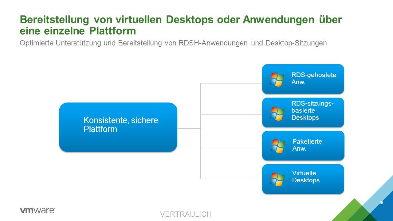 Bereitstellung von virtuellen Desktops oder Anwendungen über eine einzelne Plattform