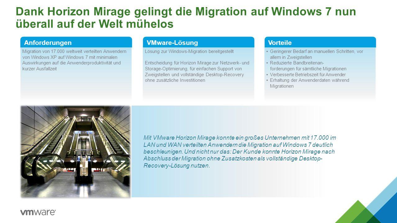 Dank Horizon Mirage gelingt die Migration auf Windows 7 nun überall auf der Welt mühelos