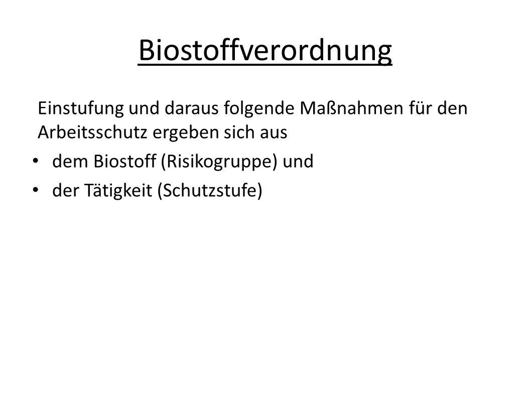 Biostoffverordnung Einstufung und daraus folgende Maßnahmen für den Arbeitsschutz ergeben sich aus.