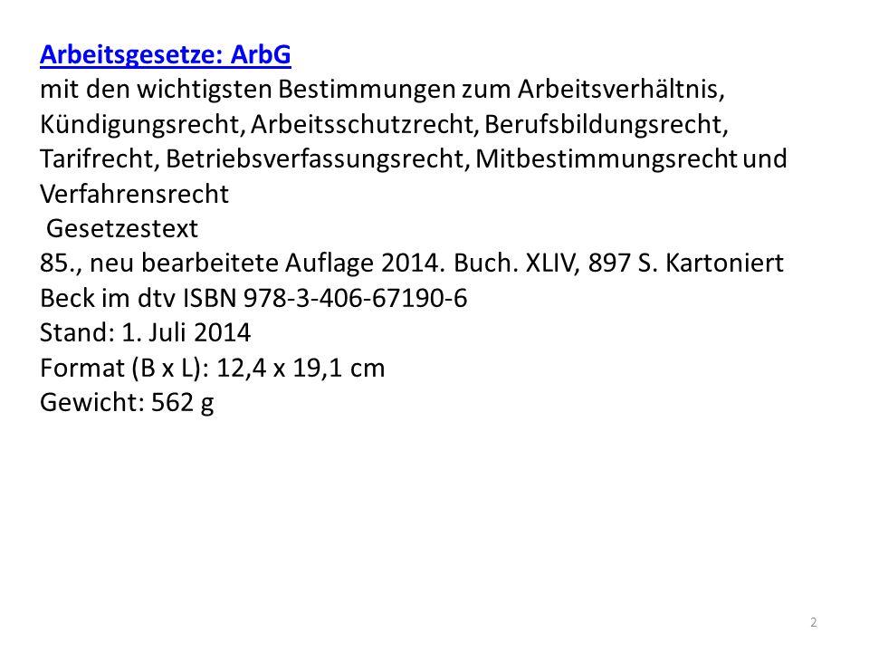 Arbeitsgesetze: ArbG