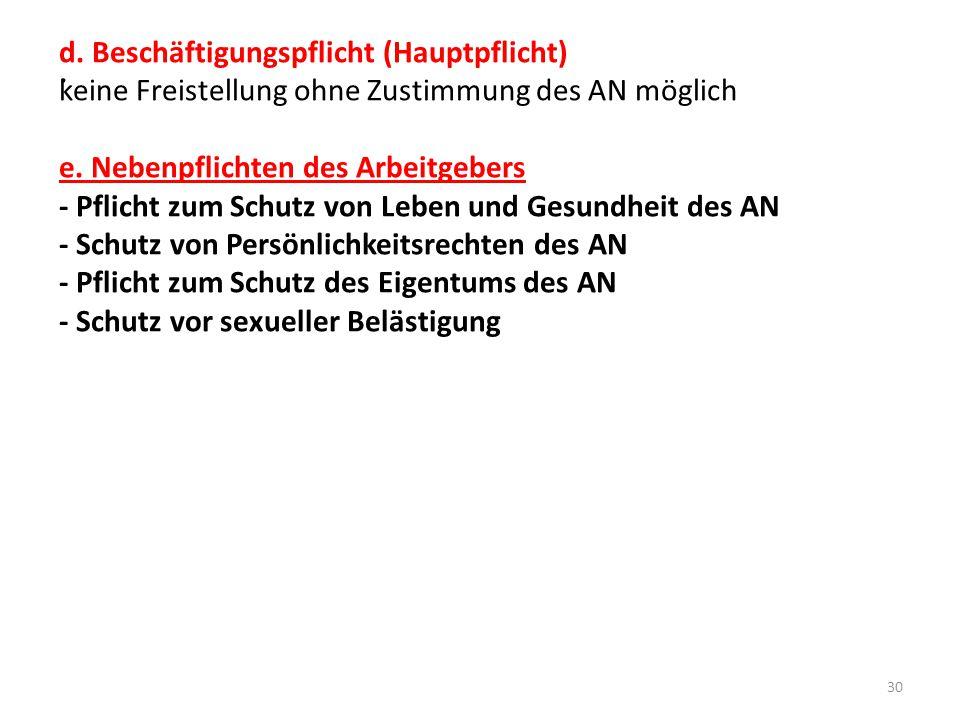 . d. Beschäftigungspflicht (Hauptpflicht)