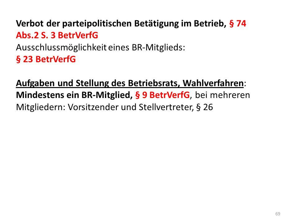 Verbot der parteipolitischen Betätigung im Betrieb, § 74 Abs. 2 S