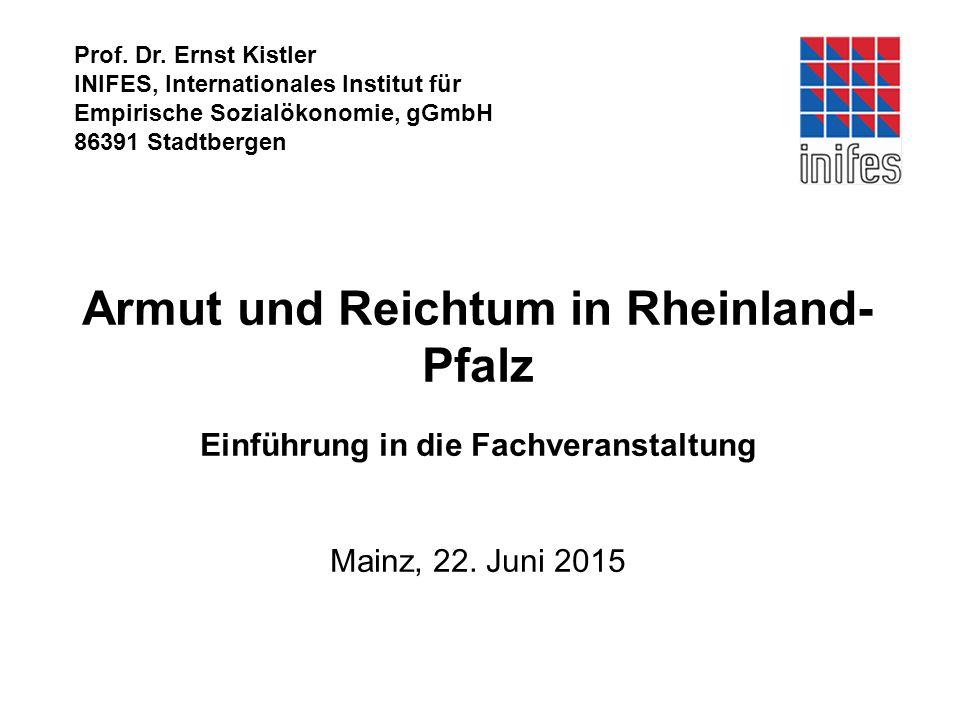 Prof. Dr. Ernst Kistler INIFES, Internationales Institut für. Empirische Sozialökonomie, gGmbH. 86391 Stadtbergen.