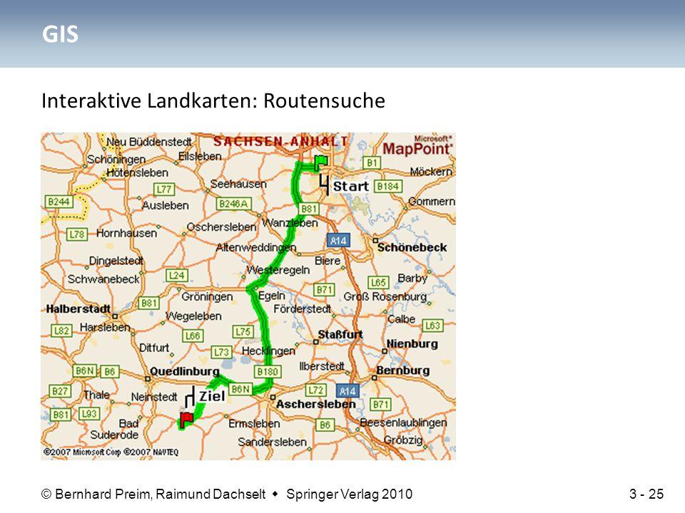 GIS Interaktive Landkarten: Routensuche