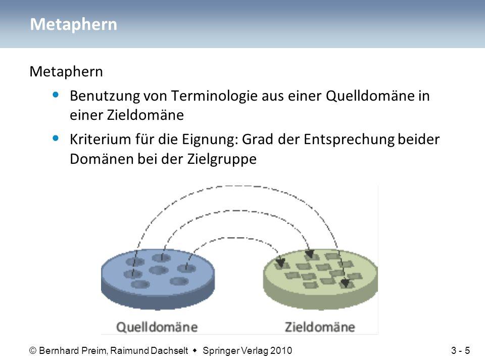 Metaphern Metaphern. Benutzung von Terminologie aus einer Quelldomäne in einer Zieldomäne.