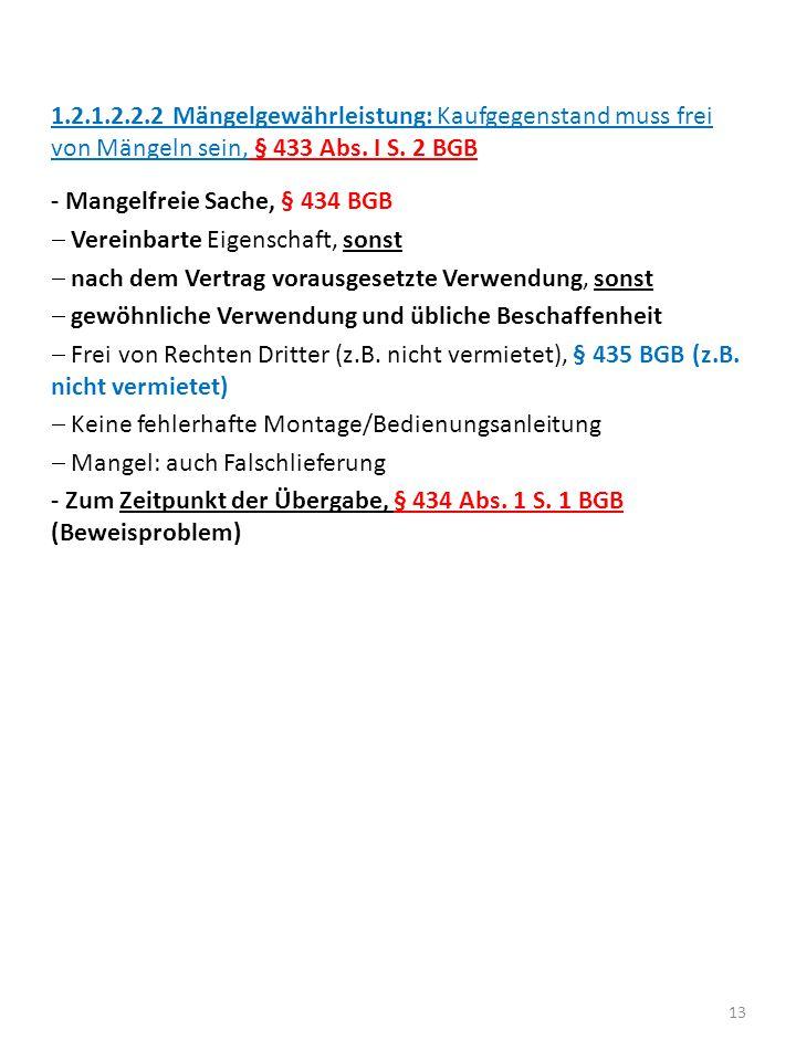 1.2.1.2.2.2 Mängelgewährleistung: Kaufgegenstand muss frei von Mängeln sein, § 433 Abs. I S. 2 BGB
