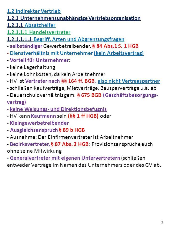 1.2 Indirekter Vertrieb 1.2.1 Unternehmensunabhängige Vertriebsorganisation. 1.2.1.1 Absatzhelfer.