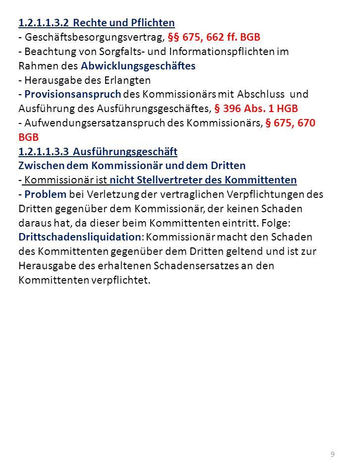 1.2.1.1.3.2 Rechte und Pflichten - Geschäftsbesorgungsvertrag, §§ 675, 662 ff. BGB.