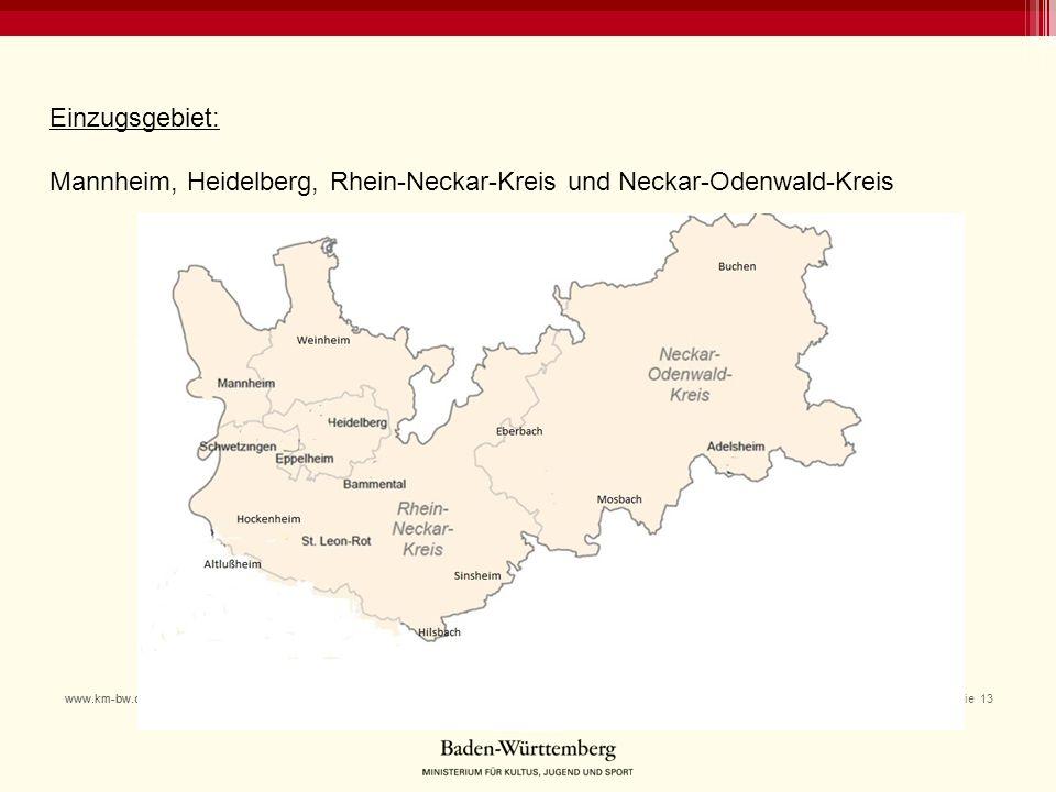 Einzugsgebiet: Mannheim, Heidelberg, Rhein-Neckar-Kreis und Neckar-Odenwald-Kreis