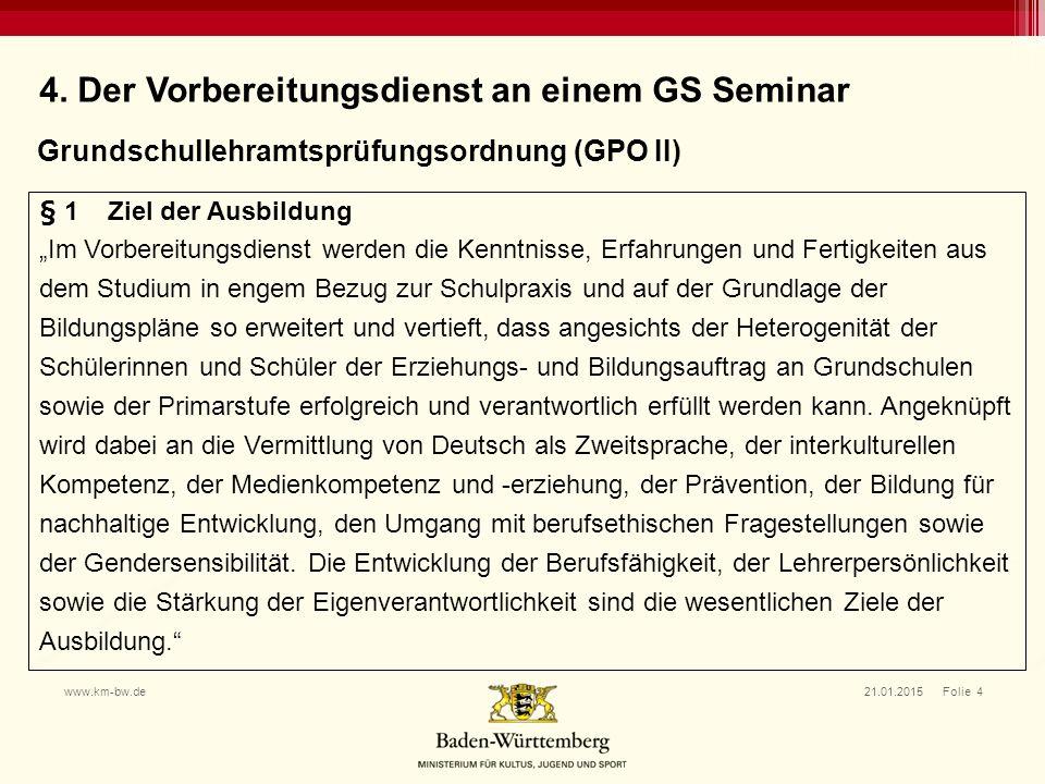 4. Der Vorbereitungsdienst an einem GS Seminar
