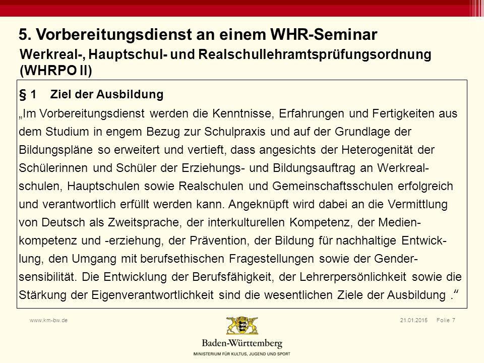 5. Vorbereitungsdienst an einem WHR-Seminar