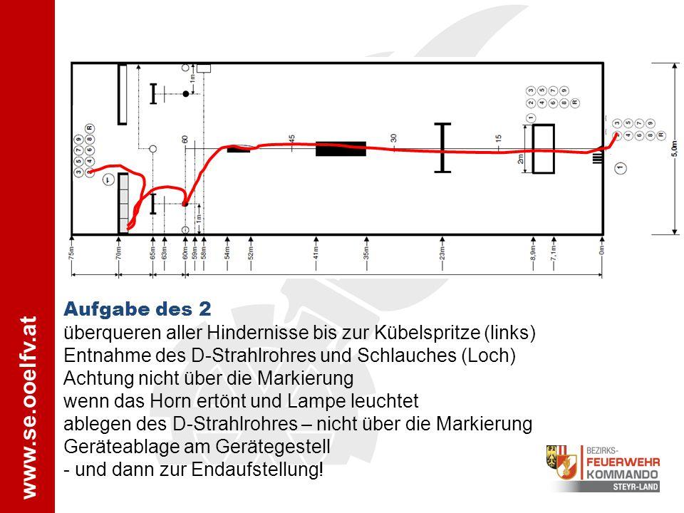Aufgabe des 2 überqueren aller Hindernisse bis zur Kübelspritze (links) Entnahme des D-Strahlrohres und Schlauches (Loch)