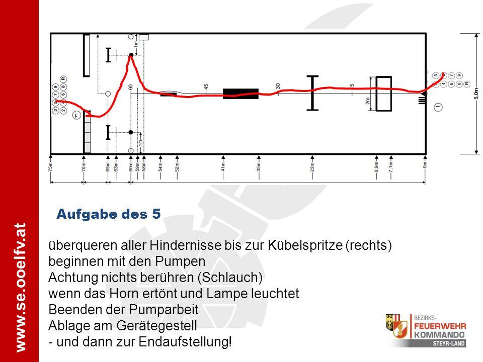 Aufgabe des 5 überqueren aller Hindernisse bis zur Kübelspritze (rechts) beginnen mit den Pumpen. Achtung nichts berühren (Schlauch)