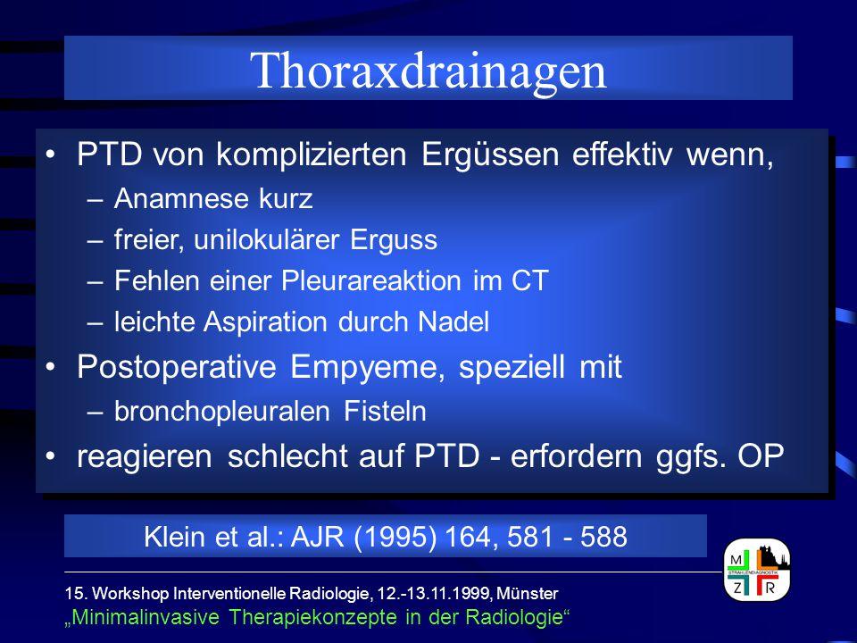 Thoraxdrainagen PTD von komplizierten Ergüssen effektiv wenn,