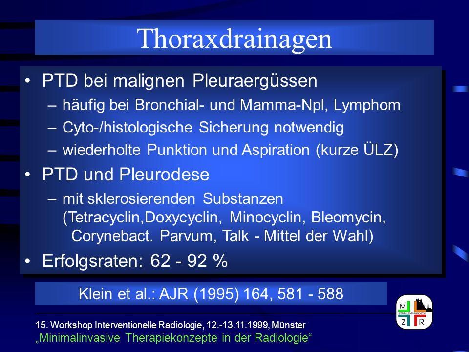 Thoraxdrainagen PTD bei malignen Pleuraergüssen PTD und Pleurodese