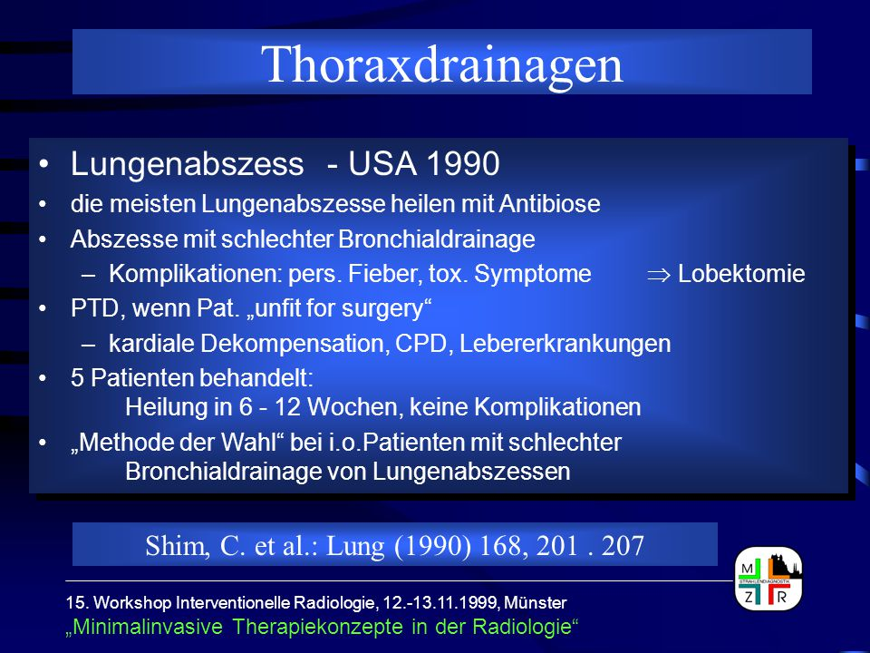 Thoraxdrainagen Lungenabszess - USA 1990