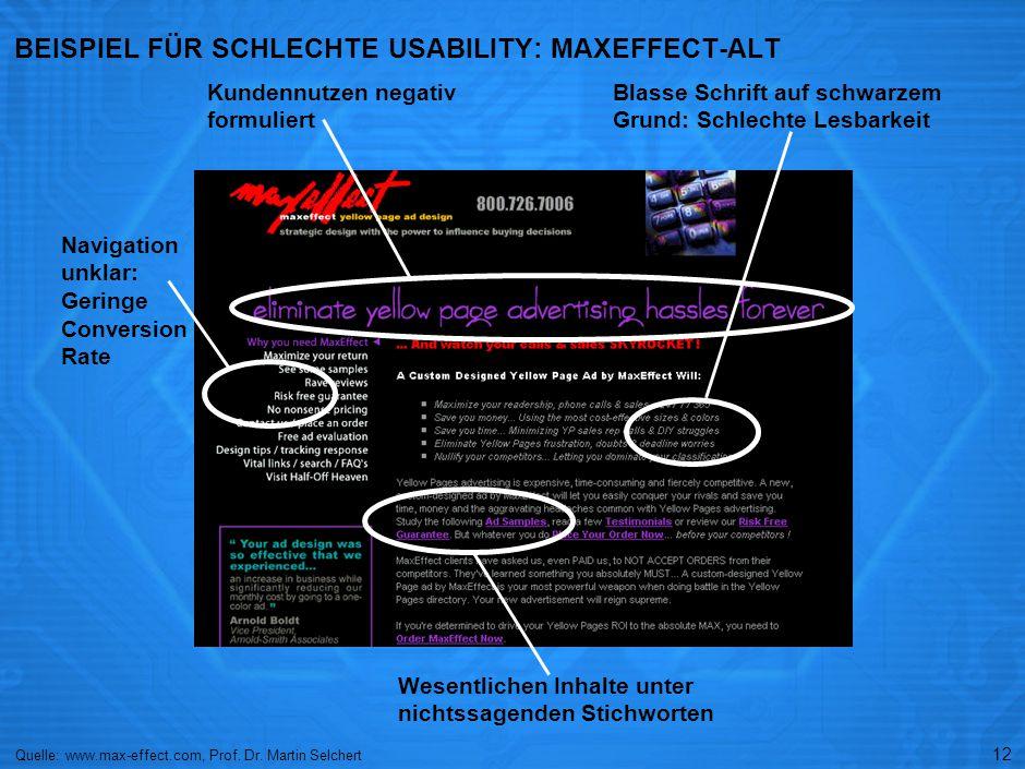 BEISPIEL FÜR GUTE USABILITY: MAXEFFECT-NEU