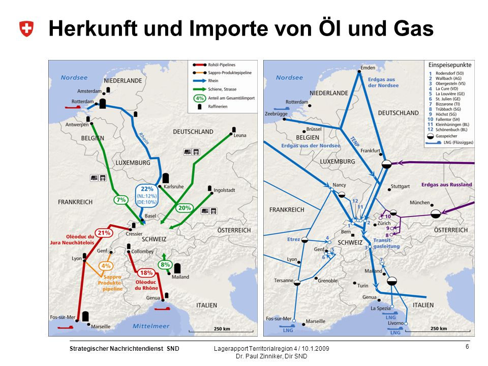 Herkunft und Importe von Öl und Gas