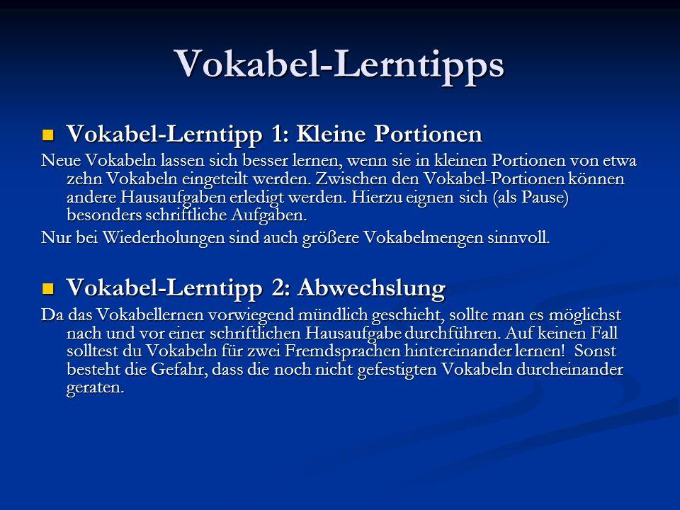 Vokabel-Lerntipps Vokabel-Lerntipp 1: Kleine Portionen