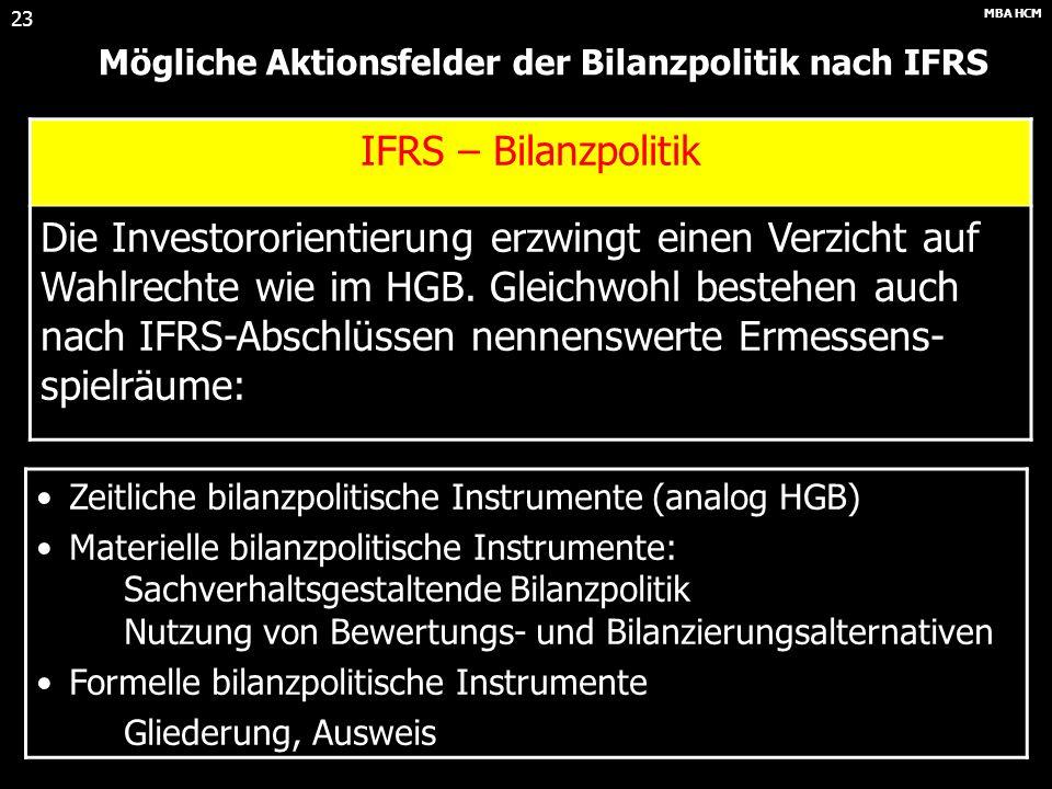 Mögliche Aktionsfelder der Bilanzpolitik nach IFRS