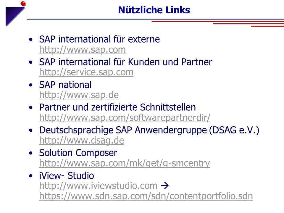 Nützliche Links SAP international für externe http://www.sap.com. SAP international für Kunden und Partner http://service.sap.com.