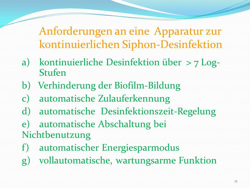 Anforderungen an eine Apparatur zur kontinuierlichen Siphon-Desinfektion