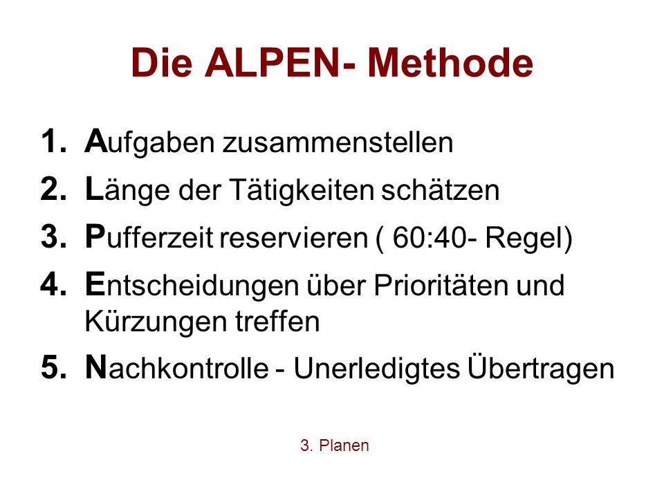 Die ALPEN- Methode Aufgaben zusammenstellen