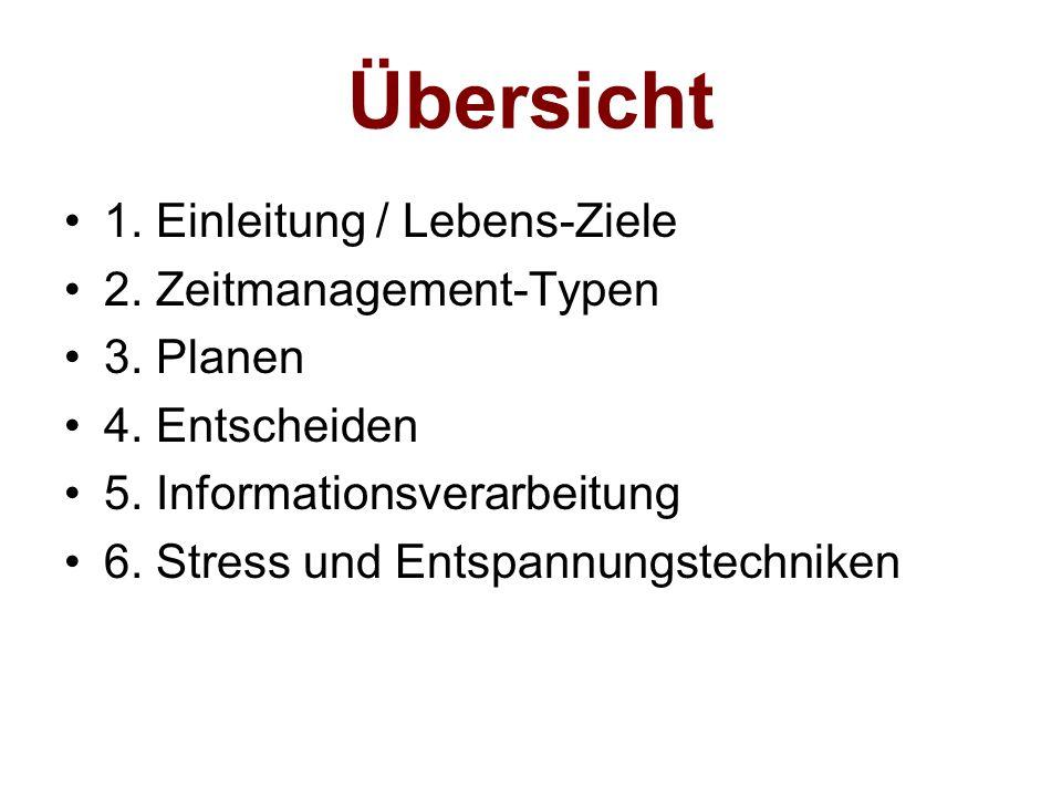 Übersicht 1. Einleitung / Lebens-Ziele 2. Zeitmanagement-Typen