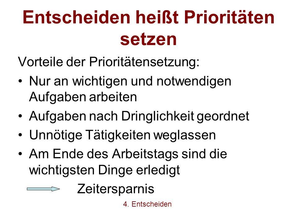 Entscheiden heißt Prioritäten setzen